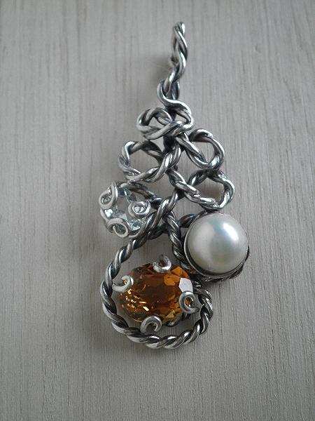 Unique handmade pendants by stella galanti handmade oxidized silver 925 pendant with pearl aquamarine and citrin aloadofball Choice Image